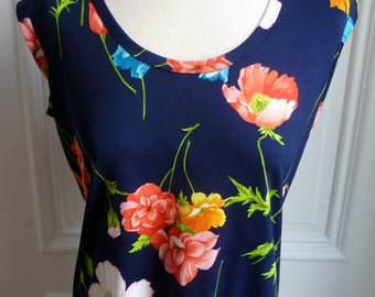 Vintage 1970s Floral Sleeveless Top - L/XL