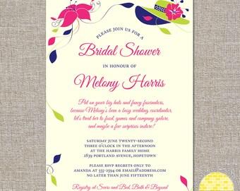 big hats and fascinators - custom bridal shower invitation - DIY printable file by YellowBrickStudio