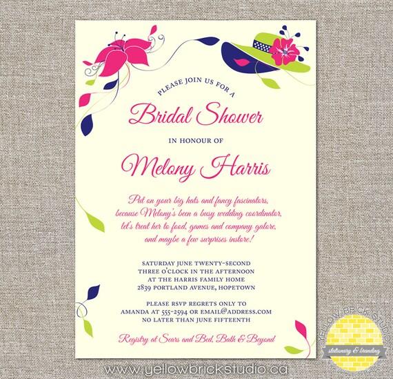 Big hats and fascinators custom bridal shower invitation like this item stopboris Image collections