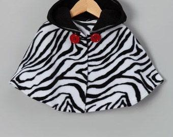 Black and White Zebra Hooded Poncho