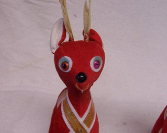 Retro Plush  Reindeer  Japan Red Plush Gold Antlers  Stuffed Toy Red Christmas Reindeer Circa 1960s Vintage Holiday Stuffed Animal