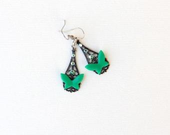 Filigree Earrings, Green Butterfly Earrings, Jewelry for Teens, Gifts For Her Under 30, Vintage Style, August Birthstone, Dainty Earrings