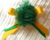 Green Flower Brooch: Sequin Tulle Rose, Emerald Green & Golden Yellow Ribbon Bow Pin, Corsage Broach, Canary Yellow, OOAK