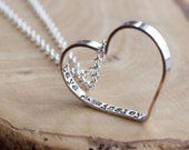 Personalized Message Necklace, Everyday Heart Necklace, sterling Silver Heart Necklace, Children's Names, Mommy Gift- Secret Wishes Necklace