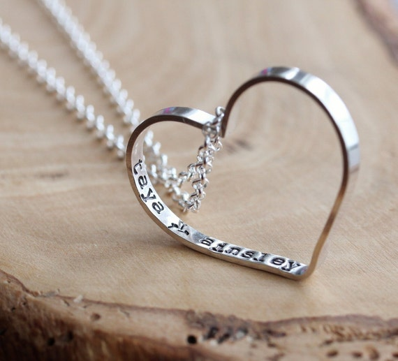 Personalized Message Heart Necklace Everyday Heart Necklace