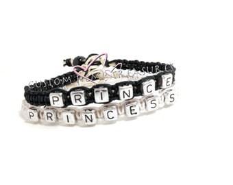 Prince Princess bracelets, Couples Bracelet, Anniversary Gift, Boyfriend Girlfriend gift, Couples Gift, Black White Hemp, Matching couples