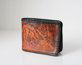 Leather Wallet / Deer / Brown / Hand Laced