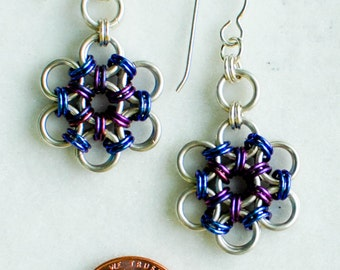 Sterling Silver Japanese Flower Garden Earrings with Blueberry and Plum Niobium Accents - Ready to Ship