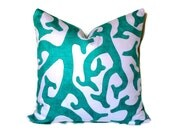 SPECIAL ORDER KARA Kaufmann Coral Reef Accent Pillow Throw Pillow Decorative Pillow Lumbar Pillow Turquoise & White Beach House Pillow