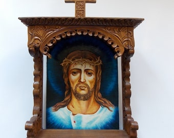 Wall Art, Wood Carving, Jesus Christ, Orthodox, Christian, Religious Icon, Byzantine, Wood Sculpture, Home iconostasis, MariyaArts