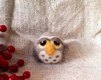 Woodland Owl Ornament - needle felted wool Christmas ornament, woodland holiday decoration, small