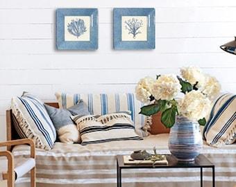 coral - art - beach decor - blue art - wall hanging - decoupage plate - print set  - sea shore decor - coastal cottage - beach decor -
