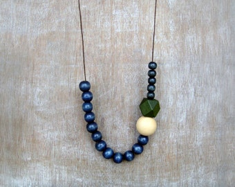Blue and Green Wood Geometric Necklace