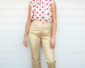 Vintage 90s Metallic Gold Stretch Denim Cropped Pants