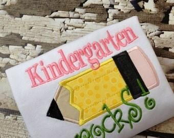 Kindergarten Rocks Shirt - School Rocks Tshirt - Back To School Shirt - Embroidered Shirt