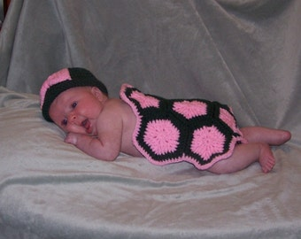 Crocheted Baby Girl Photo Prop  Turtle, tortoise Forest Green and Pink