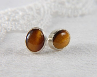 Tiger's Eye Earrings Large Post Earrings Natural Stone Earrings Bezel Earrings Gemstone Earrings Tiger's Eye Jewelry