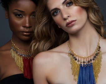 AISHA / Chain Fringe Necklace, Red Leather Fringe Necklace, Blue Leather Fringe Necklace, Boho Necklace, Statement Necklace, Ethnic Necklace
