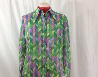 Emerald and Amethyst Blouse 1970s M/L