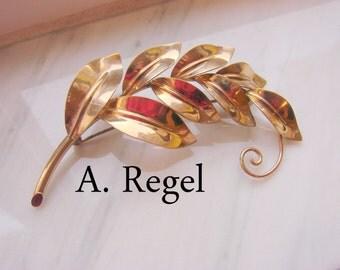 Large Vintage Retro A. REGEL Gold Filled  Brooch / Leaf Motif / Designer Signed / Jewelry / Jewellery
