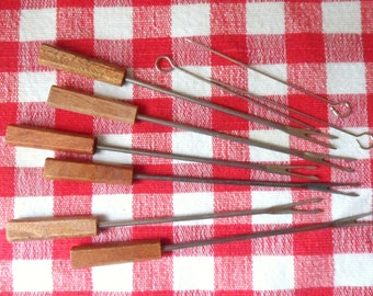 Six Fondue Forks & Three Screwers, Wooden Handle Forks