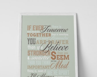 I'll Always be With You - AA Milne, Winnie the Pooh  - Art Print in 3 Sizes