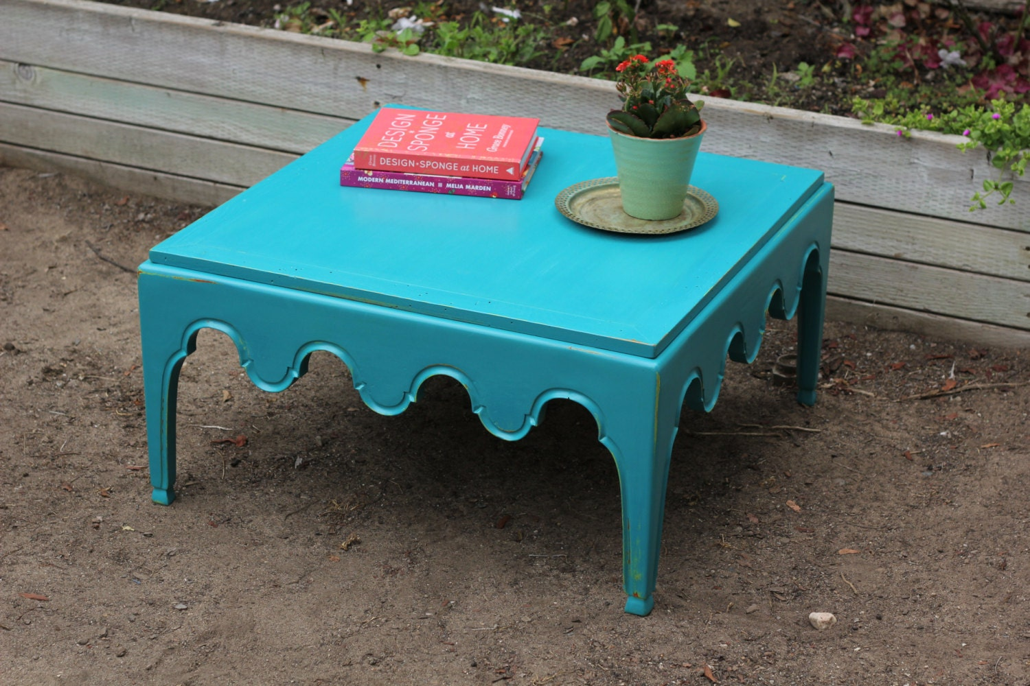 Turquoise Distressed Coffee Table