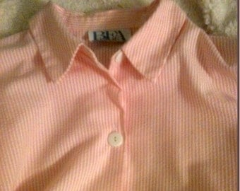 1980's Ladies Shirt Button Front Striped by BFA Classics - Peach Pink - Sz L