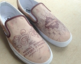 Custom Hand Painted Shoes - Marauder's Map from Harry Potter