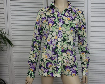 Vintage Ladies 1970s Long Sleeve Colorful Shirt by Lady Manhattan