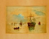 Edwardian Seascape Painting of Boats Signed EC Original Art Antique Watercolor