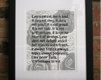 Love Never Fails, original linocut print, 1 Corinthians 13, open edition, black and gray ink, 8x10