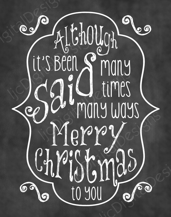 Christmas Song Chalkboard Word Art Lyrics Printable Digital Typography ...