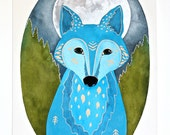 Moon Wolf Painting - Watercolor Illustration Art - Archival Print - Lunar Wolf Xavier