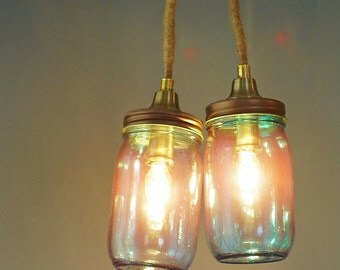 mason jar lighting fixture. blue glass mason jar pendant lamp copper light fixture wrapped jute cord lighting r