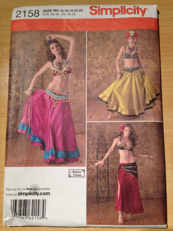 Simplicity Costume Sewing Pattern 2158 Misses Beledi Belly Dancer Size 14-22