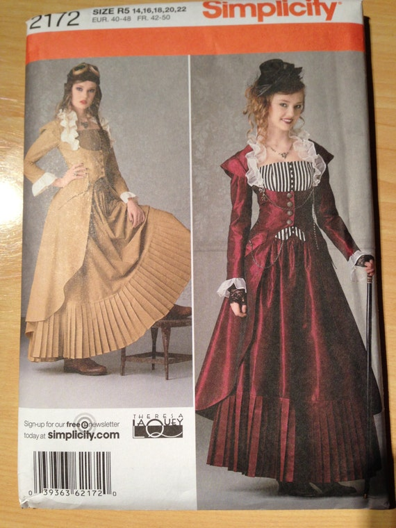 Simplicity Sewing Pattern 2172 Uncut Steampunk Victorian Costume Coat, Bustier and Skirt Size 14-22