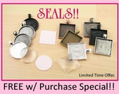 10 FREE SEALS - Pendant Tray Kit -Jewelry Craft Kit-DIY 10 Necklace 25mm Glass Craft Kit. Free Sticky Seals. Optional Chains offered