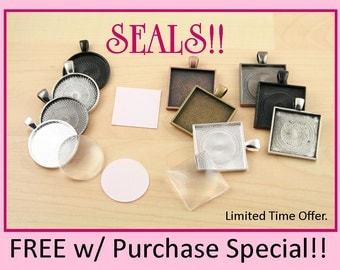 15 FREE SEALS - Pendant Tray Kit -Jewelry Craft Kit-DIY 15 Necklace 25mm Glass Craft Kit. Free Sticky Seals. Optional Chains offered