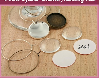 8 Wine Glass Charm Making Kits -8 Hoops, 8 Lt Weight 25mm or 12mm Recessed Charms, 8 Glass Domes, 16 SEALS.Silver Plated, Antique Bronze DIY