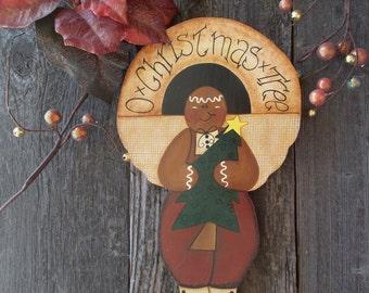 Gingerbread man, Holiday Wall Hanging, O Christmas Tree Sign, Door Hanger, Holiday Sign, Seasonal Art, Painted Wood Sign, Hand Painted Sign