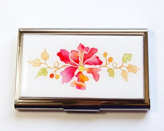Flower card case, Business Card Case, Card case, business card holder, Floral case, card case for her (2921)