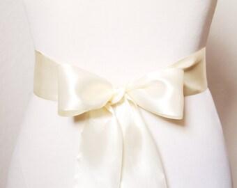 2 Inch Wide Satin Sash Belt - Bridesmaid Bridal Flower Girl Bow Sashes Belts - Wedding Dress Double Sided Ribbon - Cream / Light Champagne