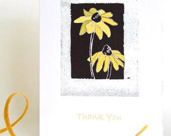 Beautiful Art Card, Gift Card, All Occasion Greeting Card, Black Eye Susan, Monotype Print