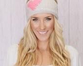 Heart Headband, Women's Ear Warmer, Best Selling Accessory, Women's Fall Headband, Winter Hairband, Knitted Heart Headband in Latte (HB-142)