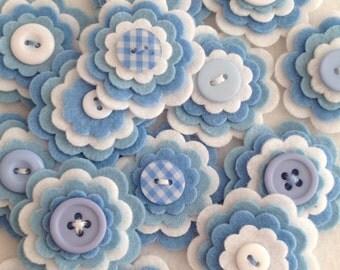 BABY BOY BLUE x3 Handmade Layered Felt Flower Button Embellishments, Felt Applique,Blues and White