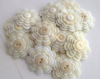 VINTAGE LACE x3 Handmade Layered Felt Flower Button Embellishments, Felt Applique, Cream and White