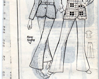 "1970s Women's Jacket, Cardigan, Vest & Bell Bottom Pants Pattern - Size 18, Bust 40"" - mail order pattern GRIT 8282"