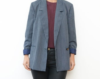 Vintage navy blue striped women 90s blazer