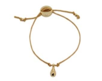 Saffron Yellow Cotton Cord Bracelet with Golden Drop